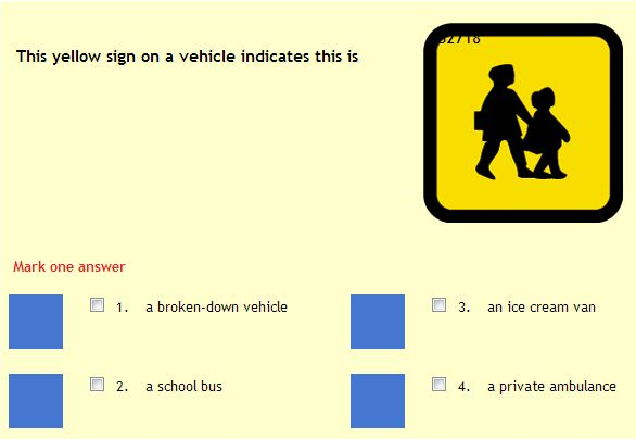 Driving Theory Mock Test and Exam screen