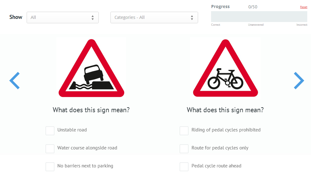 Road signs test online